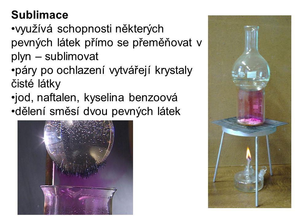 Sublimace využívá schopnosti některých pevných látek přímo se přeměňovat v plyn – sublimovat páry po ochlazení vytvářejí krystaly čisté látky jod, naf