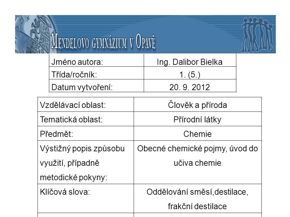 Jméno autora: Ing. Dalibor Bielka Třída/ročník:1. (5.) Datum vytvoření:20. 9. 2012 Vzdělávací oblast:Člověk a příroda Tematická oblast: Přírodní látky
