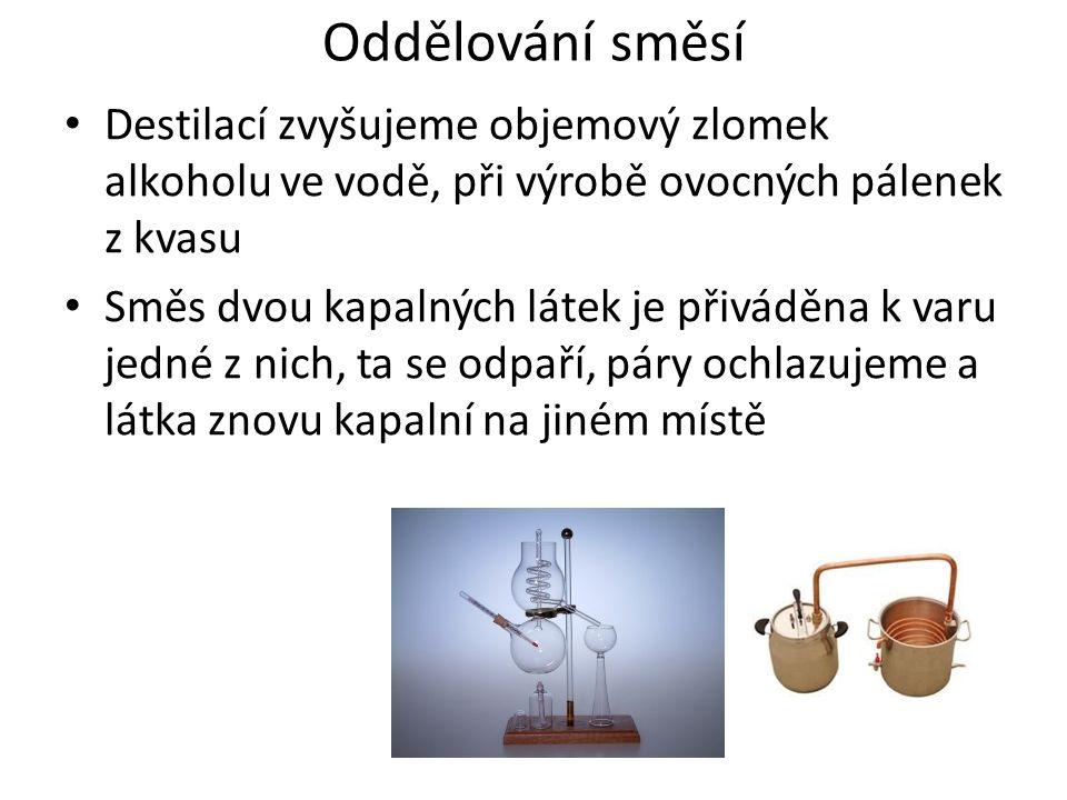 Oddělování směsí Destilací zvyšujeme objemový zlomek alkoholu ve vodě, při výrobě ovocných pálenek z kvasu Směs dvou kapalných látek je přiváděna k varu jedné z nich, ta se odpaří, páry ochlazujeme a látka znovu kapalní na jiném místě