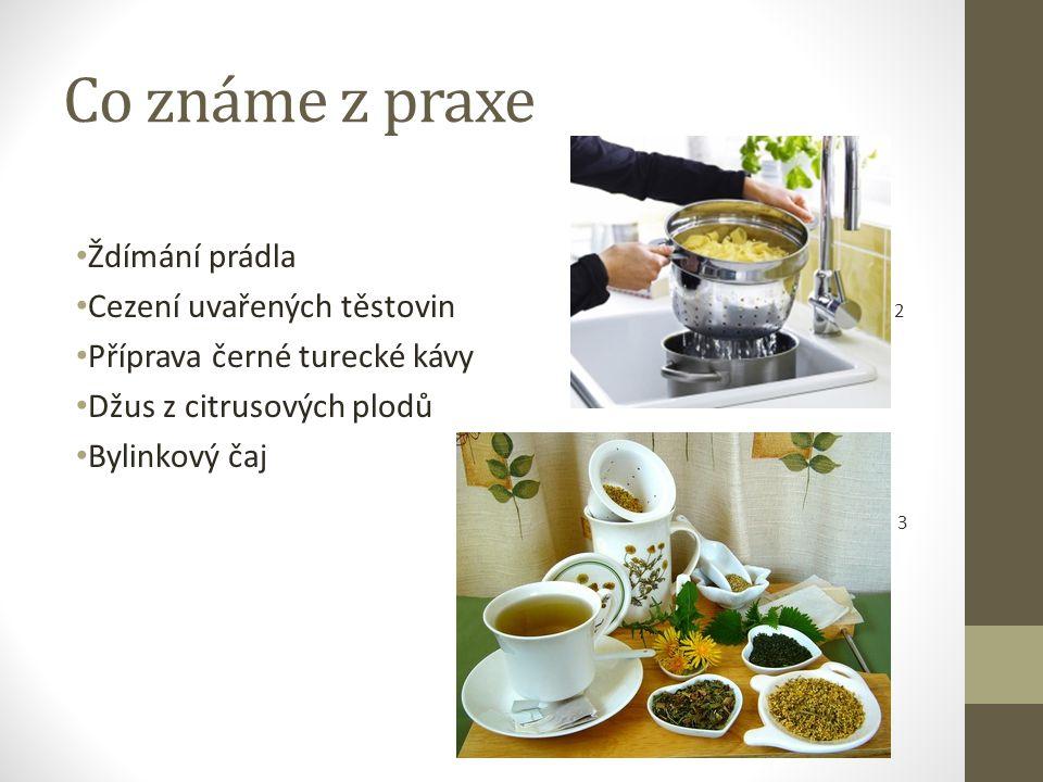 Co známe z praxe Ždímání prádla Cezení uvařených těstovin 2 Příprava černé turecké kávy Džus z citrusových plodů Bylinkový čaj 3