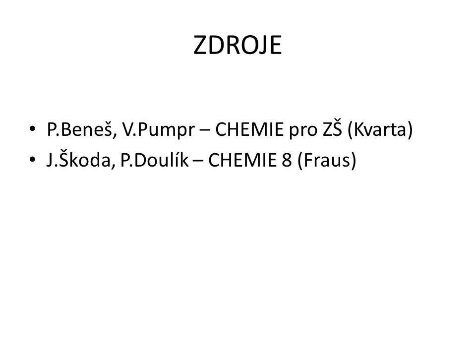 ZDROJE P.Beneš, V.Pumpr – CHEMIE pro ZŠ (Kvarta) J.Škoda, P.Doulík – CHEMIE 8 (Fraus)