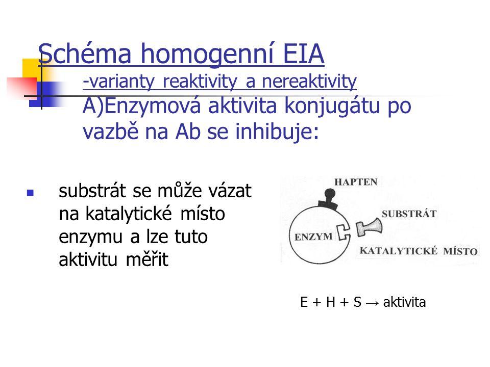 Schéma homogenní EIA -varianty reaktivity a nereaktivity A)Enzymová aktivita konjugátu po vazbě na Ab se inhibuje: substrát se může vázat na katalytic