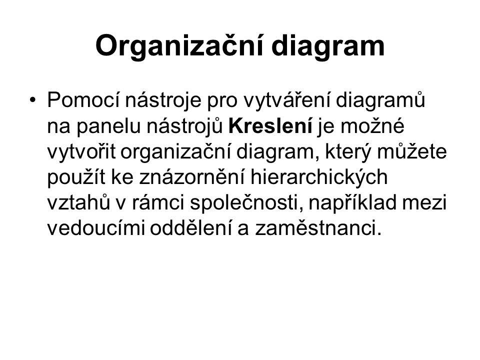 Organizační diagram Pomocí nástroje pro vytváření diagramů na panelu nástrojů Kreslení je možné vytvořit organizační diagram, který můžete použít ke znázornění hierarchických vztahů v rámci společnosti, například mezi vedoucími oddělení a zaměstnanci.