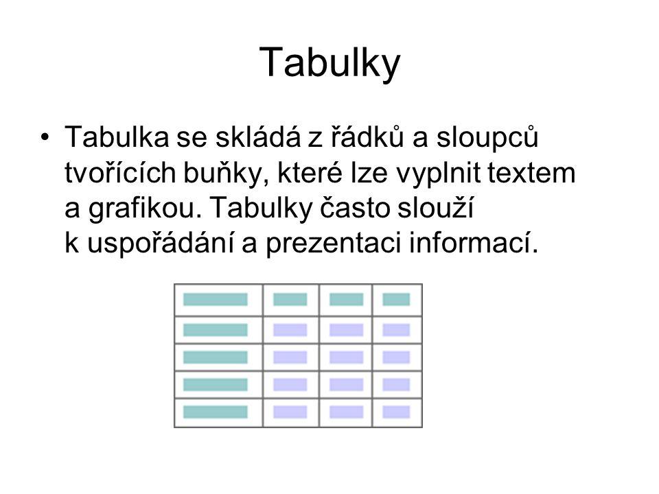 Tabulky Tabulka se skládá z řádků a sloupců tvořících buňky, které lze vyplnit textem a grafikou.
