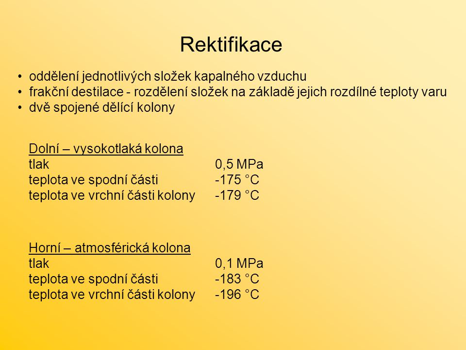 Rektifikace oddělení jednotlivých složek kapalného vzduchu frakční destilace - rozdělení složek na základě jejich rozdílné teploty varu dvě spojené dě