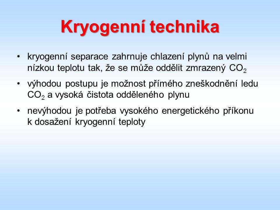 Kryogenní technika kryogenní separace zahrnuje chlazení plynů na velmi nízkou teplotu tak, že se může oddělit zmrazený CO 2 výhodou postupu je možnost přímého zneškodnění ledu CO 2 a vysoká čistota odděleného plynu nevýhodou je potřeba vysokého energetického příkonu k dosažení kryogenní teploty