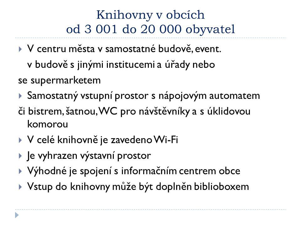 Knihovny v obcích od 3 001 do 20 000 obyvatel  V centru města v samostatné budově, event. v budově s jinými institucemi a úřady nebo se supermarketem