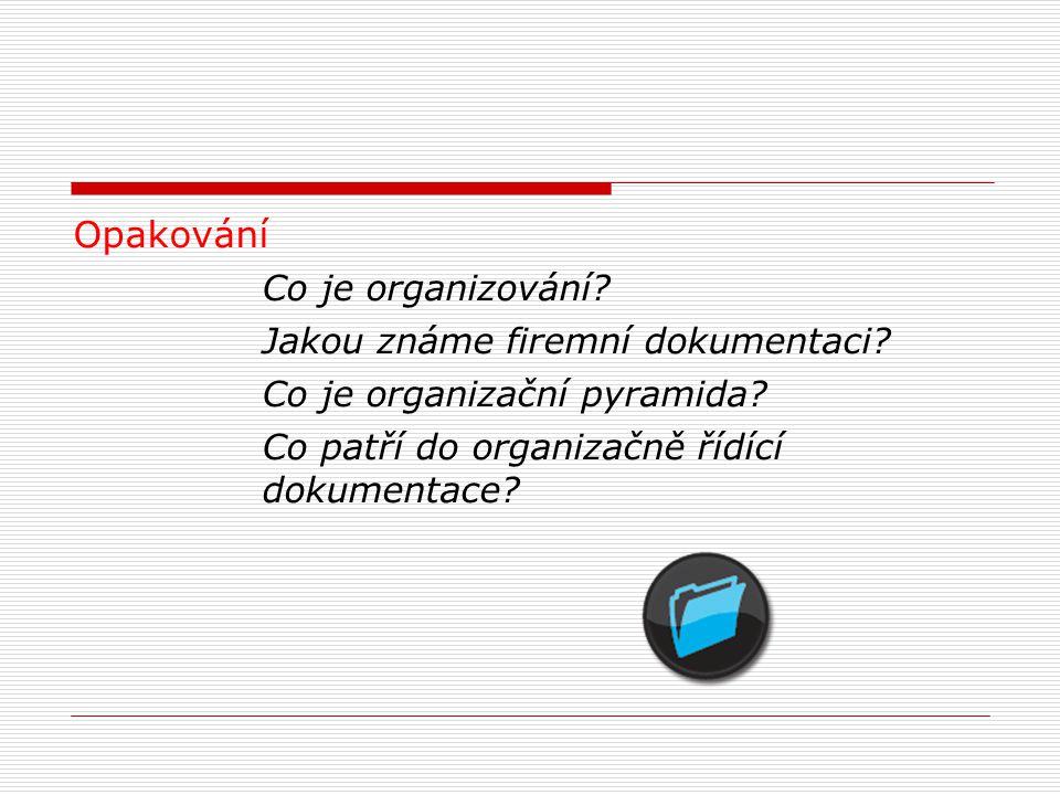 Opakování Co je organizování.Jakou známe firemní dokumentaci.