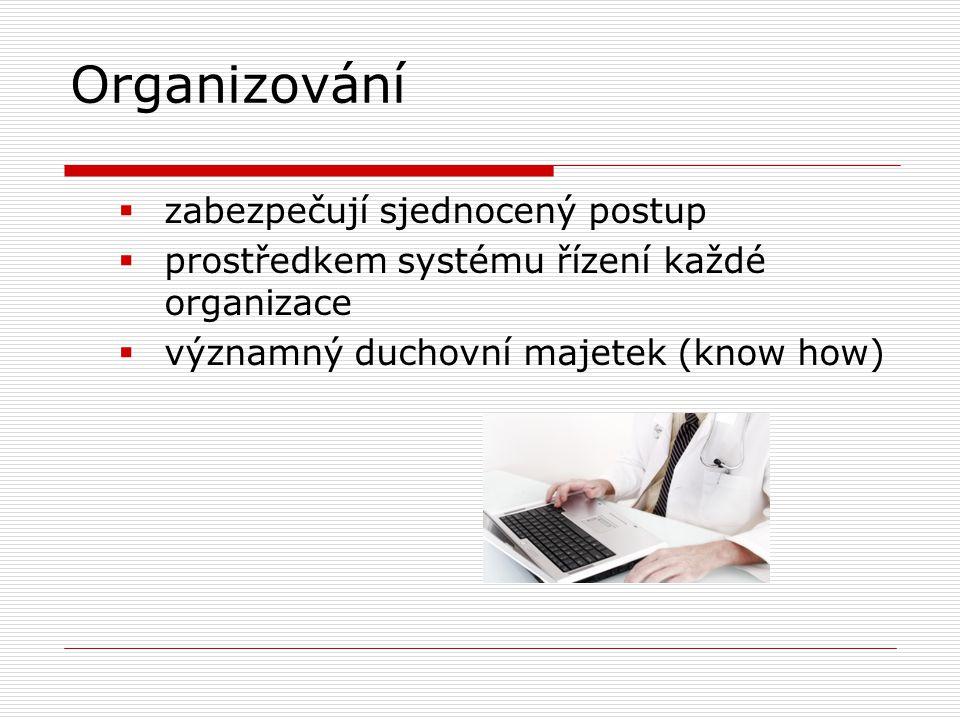Organizování  zabezpečují sjednocený postup  prostředkem systému řízení každé organizace  významný duchovní majetek (know how)