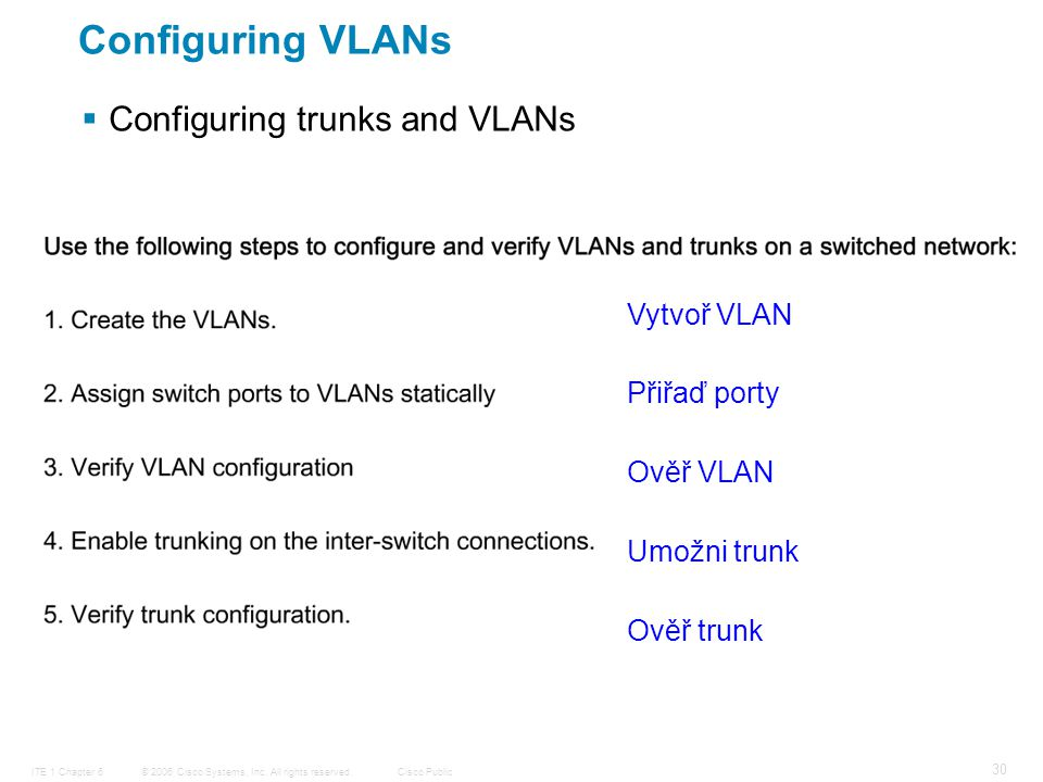 © 2006 Cisco Systems, Inc. All rights reserved.Cisco PublicITE 1 Chapter 6 30 Configuring VLANs  Configuring trunks and VLANs Vytvoř VLAN Přiřaď port