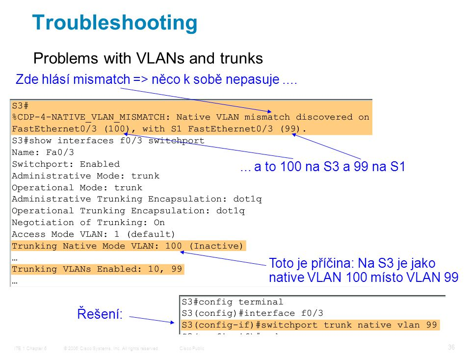 © 2006 Cisco Systems, Inc. All rights reserved.Cisco PublicITE 1 Chapter 6 36 Problems with VLANs and trunks Zde hlásí mismatch => něco k sobě nepasuj