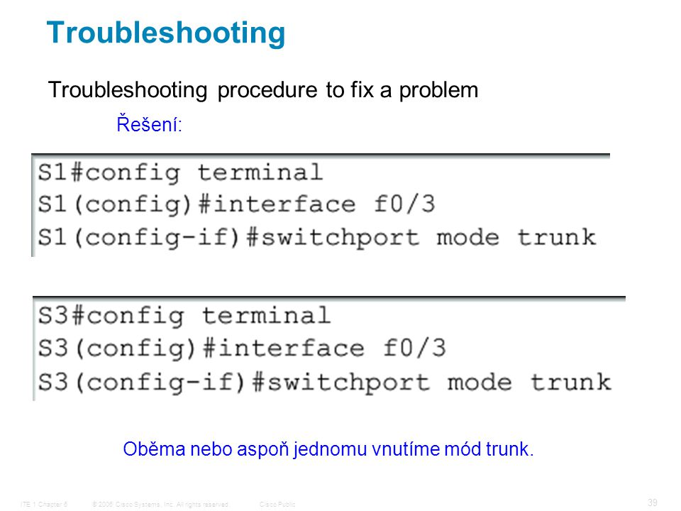© 2006 Cisco Systems, Inc. All rights reserved.Cisco PublicITE 1 Chapter 6 39 Troubleshooting procedure to fix a problem Troubleshooting Řešení: Oběma