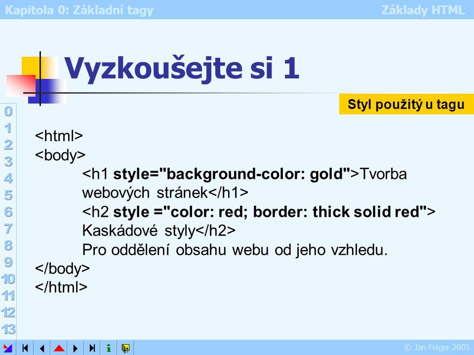Kapitola 0: Základní tagy Základy HTML © Jan Felger 2005 Vyzkoušejte si 1 Tvorba webových stránek Kaskádové styly Pro oddělení obsahu webu od jeho vzh