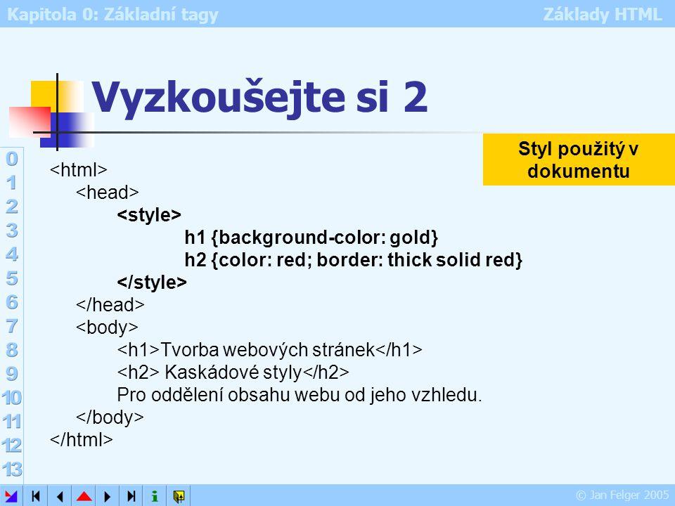 Kapitola 0: Základní tagy Základy HTML © Jan Felger 2005 Vyzkoušejte si 2 h1 {background-color: gold} h2 {color: red; border: thick solid red} Tvorba