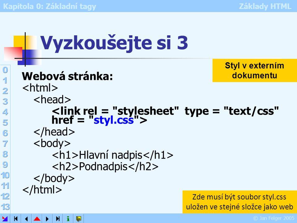Kapitola 0: Základní tagy Základy HTML © Jan Felger 2005 Vyzkoušejte si 3 Webová stránka: Hlavní nadpis Podnadpis Styl v externím dokumentu Zde musí b