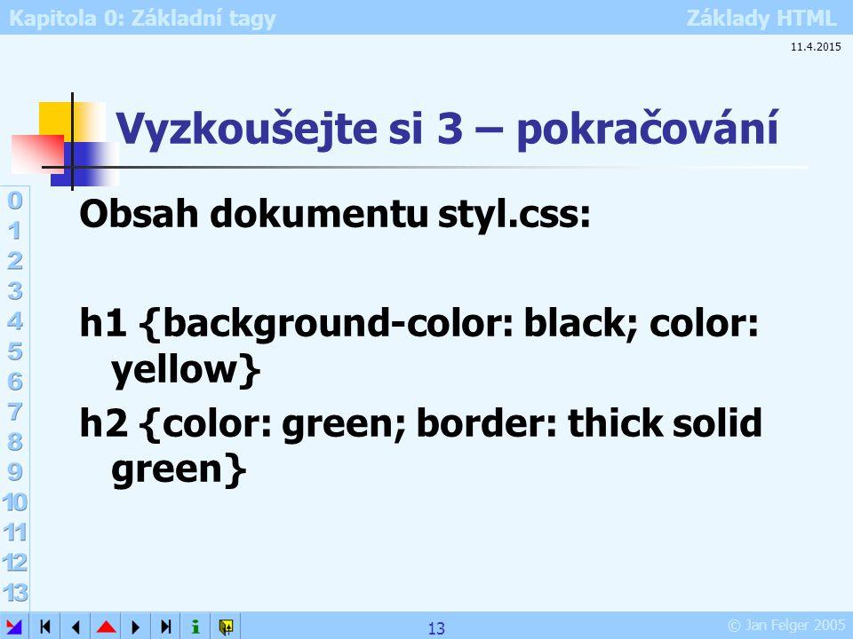 Kapitola 0: Základní tagy Základy HTML © Jan Felger 2005 Vyzkoušejte si 3 – pokračování Obsah dokumentu styl.css: h1 {background-color: black; color: