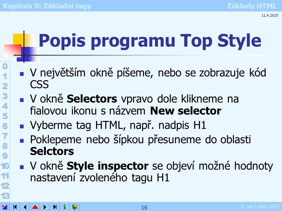 Kapitola 0: Základní tagy Základy HTML © Jan Felger 2005 Popis programu Top Style V největším okně píšeme, nebo se zobrazuje kód CSS V okně Selectors