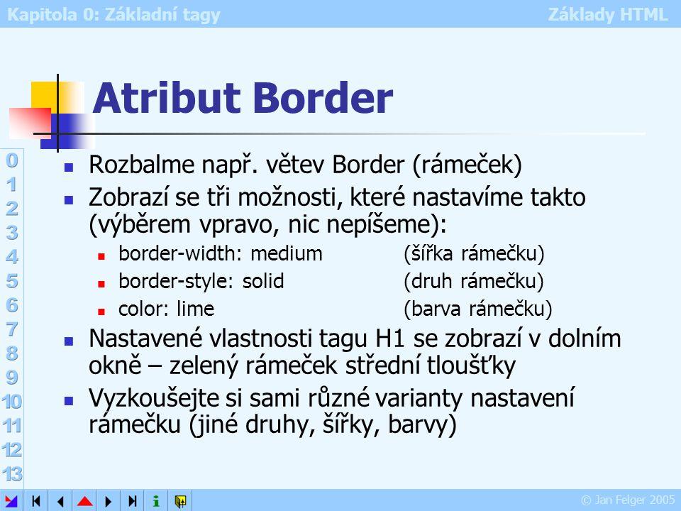 Kapitola 0: Základní tagy Základy HTML © Jan Felger 2005 Atribut Border Rozbalme např. větev Border (rámeček) Zobrazí se tři možnosti, které nastavíme