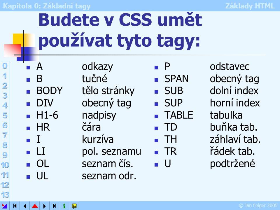 Kapitola 0: Základní tagy Základy HTML © Jan Felger 2005 Budete v CSS umět používat tyto tagy: Aodkazy Btučné BODYtělo stránky DIVobecný tag H1-6nadpi