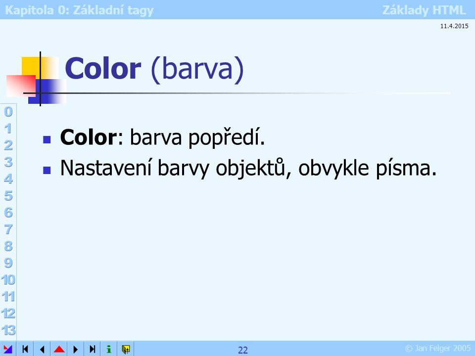Kapitola 0: Základní tagy Základy HTML © Jan Felger 2005 Color (barva) Color: barva popředí. Nastavení barvy objektů, obvykle písma. 11.4.2015 22