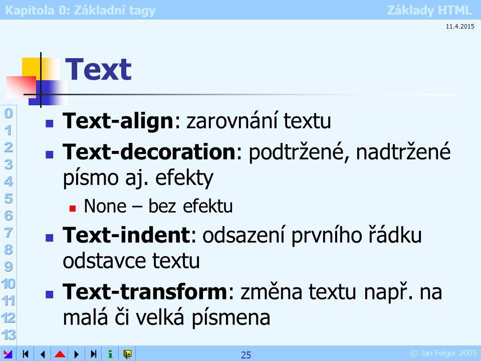 Kapitola 0: Základní tagy Základy HTML © Jan Felger 2005 Text Text-align: zarovnání textu Text-decoration: podtržené, nadtržené písmo aj. efekty None