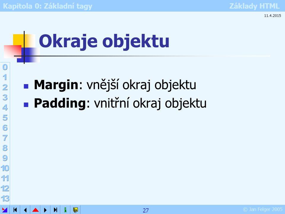 Kapitola 0: Základní tagy Základy HTML © Jan Felger 2005 Okraje objektu Margin: vnější okraj objektu Padding: vnitřní okraj objektu 11.4.2015 27