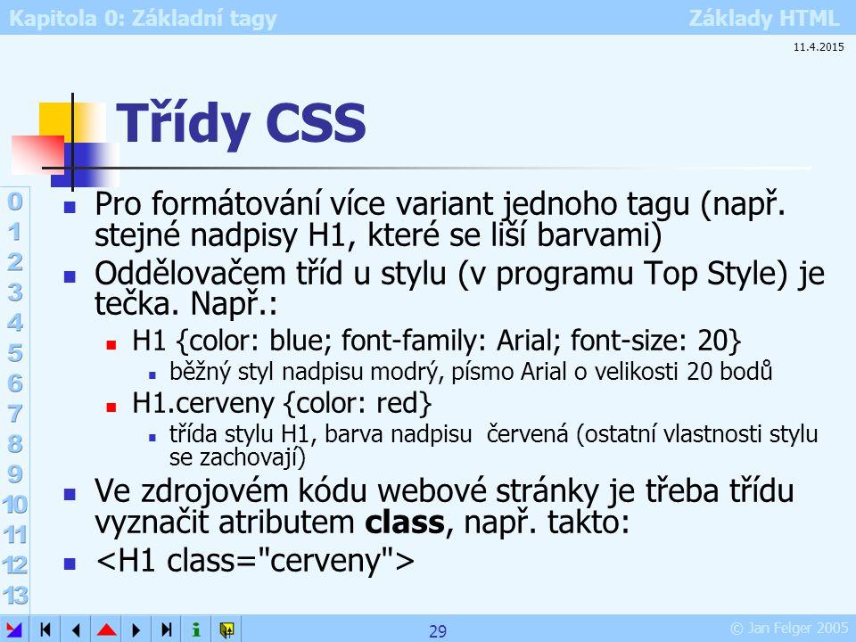 Kapitola 0: Základní tagy Základy HTML © Jan Felger 2005 Třídy CSS Pro formátování více variant jednoho tagu (např. stejné nadpisy H1, které se liší b