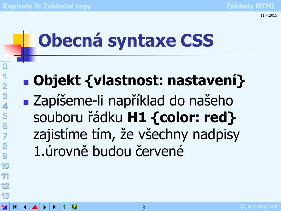 Kapitola 0: Základní tagy Základy HTML © Jan Felger 2005 11.4.2015 3 Obecná syntaxe CSS Objekt {vlastnost: nastavení} Zapíšeme-li například do našeho