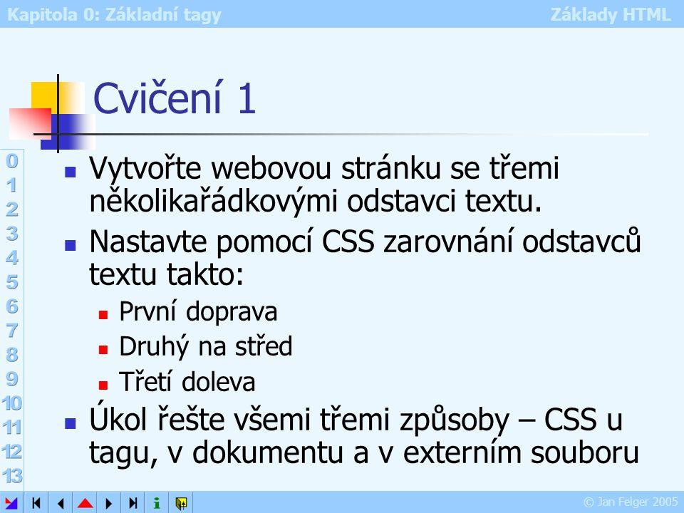 Kapitola 0: Základní tagy Základy HTML © Jan Felger 2005 Cvičení 1 Vytvořte webovou stránku se třemi několikařádkovými odstavci textu. Nastavte pomocí