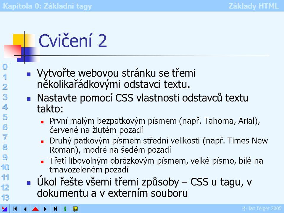 Kapitola 0: Základní tagy Základy HTML © Jan Felger 2005 Cvičení 2 Vytvořte webovou stránku se třemi několikařádkovými odstavci textu. Nastavte pomocí