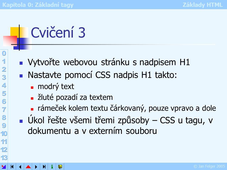Kapitola 0: Základní tagy Základy HTML © Jan Felger 2005 Cvičení 3 Vytvořte webovou stránku s nadpisem H1 Nastavte pomocí CSS nadpis H1 takto: modrý t