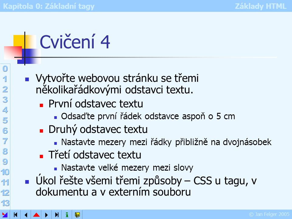 Kapitola 0: Základní tagy Základy HTML © Jan Felger 2005 Cvičení 4 Vytvořte webovou stránku se třemi několikařádkovými odstavci textu. První odstavec
