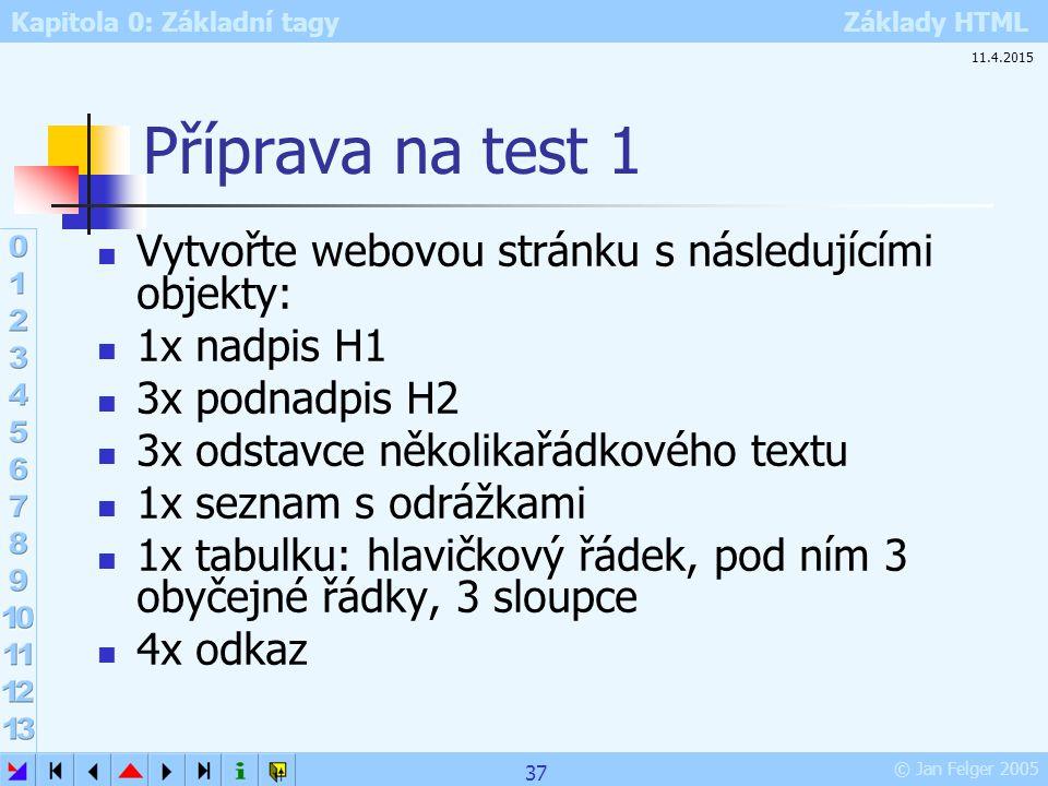 Kapitola 0: Základní tagy Základy HTML © Jan Felger 2005 Příprava na test 1 Vytvořte webovou stránku s následujícími objekty: 1x nadpis H1 3x podnadpi