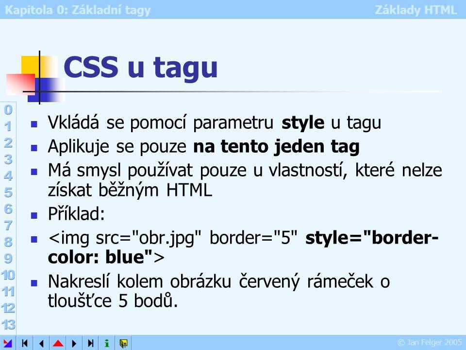Kapitola 0: Základní tagy Základy HTML © Jan Felger 2005 CSS u tagu Vkládá se pomocí parametru style u tagu Aplikuje se pouze na tento jeden tag Má sm
