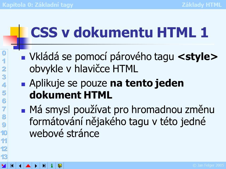 Kapitola 0: Základní tagy Základy HTML © Jan Felger 2005 CSS v dokumentu HTML 2 Příklad: H1 {color: green} První nadpis Normální text Druhý nadpis Normální text {levý Alt+123 }levý Alt+125