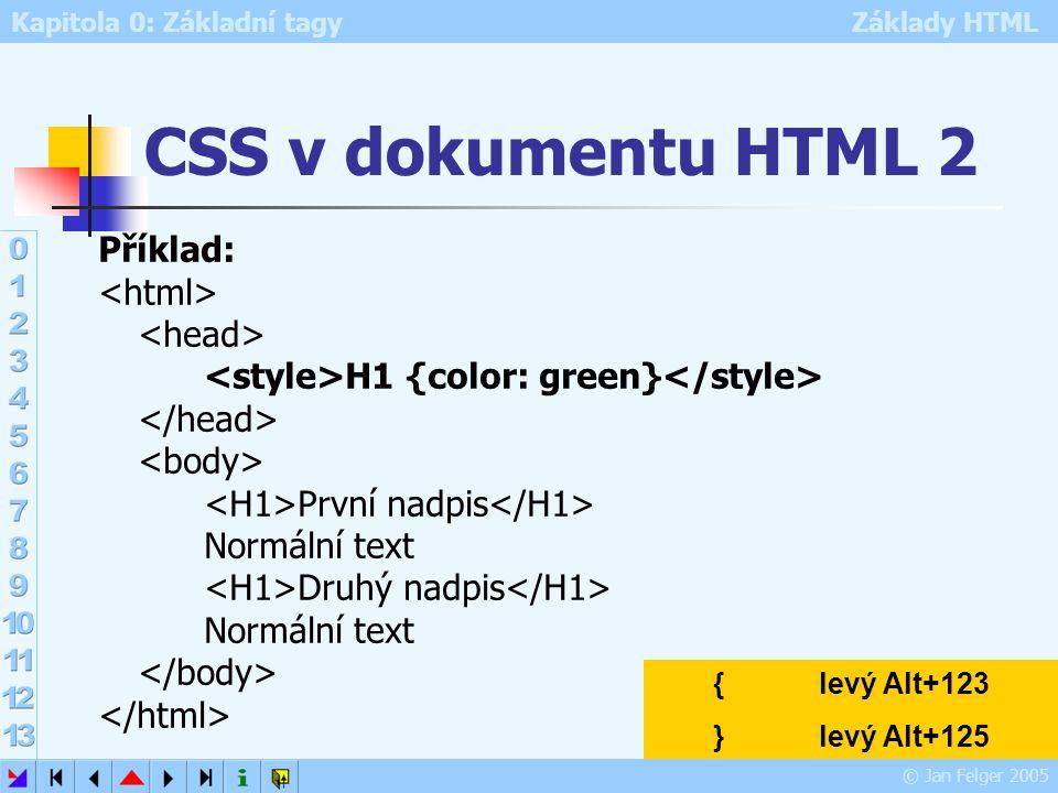 Kapitola 0: Základní tagy Základy HTML © Jan Felger 2005 CSS v dokumentu HTML 2 Příklad: H1 {color: green} První nadpis Normální text Druhý nadpis Nor