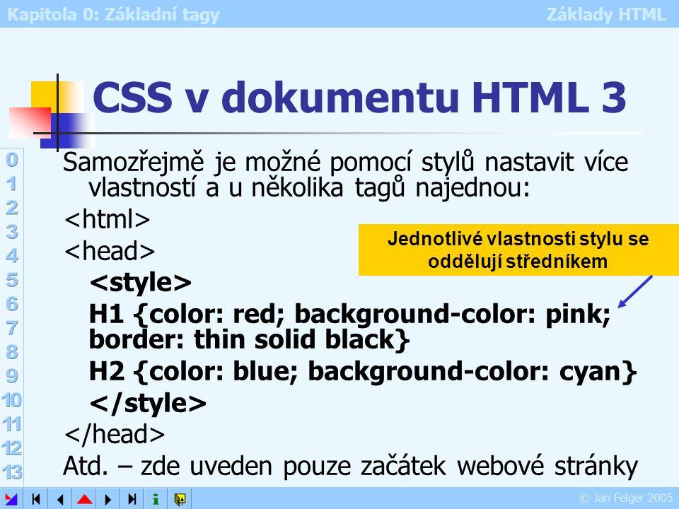 Kapitola 0: Základní tagy Základy HTML © Jan Felger 2005 CSS v externím dokumentu CSS je uložen v samostatném dokumentu Tento přístup umožňuje shodné formátování více dokumentů HTML pomocí jediného souboru se stylem Soubor se stylem musí mít příponu CSS Webová stránka si CSS zavolá pomocí řádky zapsané v hlavičce HTML