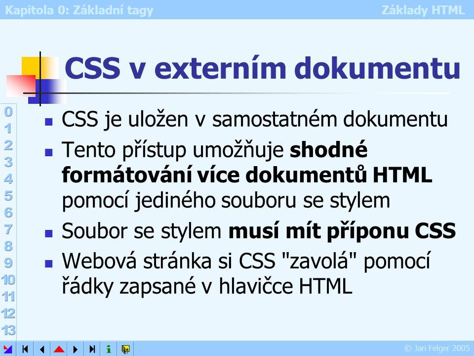 Kapitola 0: Základní tagy Základy HTML © Jan Felger 2005 CSS v externím dokumentu CSS je uložen v samostatném dokumentu Tento přístup umožňuje shodné
