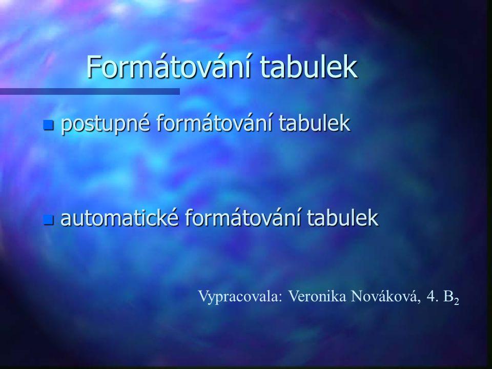 Formátování tabulek n postupné formátování tabulek n automatické formátování tabulek Vypracovala: Veronika Nováková, 4.