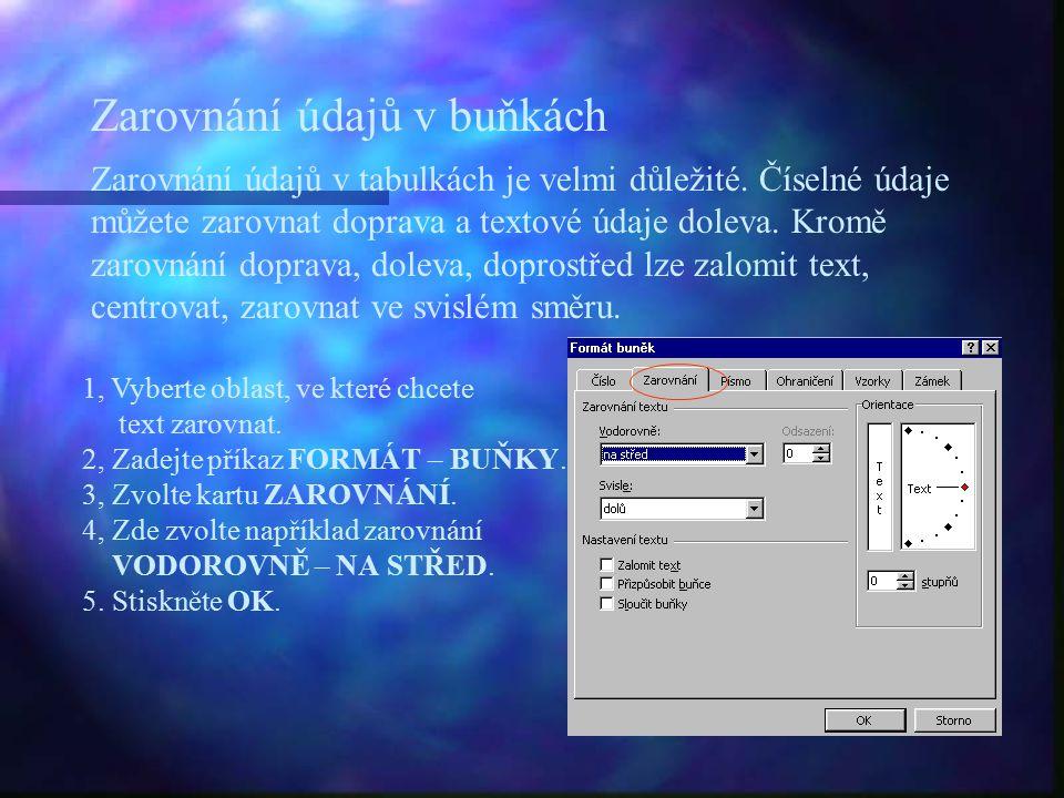 Zarovnání údajů v buňkách 1, Vyberte oblast, ve které chcete text zarovnat.