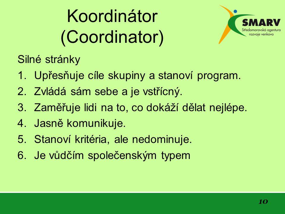10 Koordinátor (Coordinator) Silné stránky 1. Upřesňuje cíle skupiny a stanoví program.