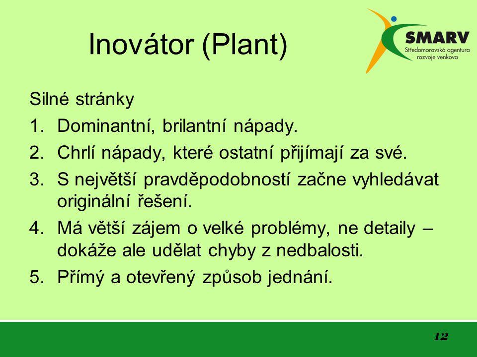 12 Inovátor (Plant) Silné stránky 1. Dominantní, brilantní nápady.