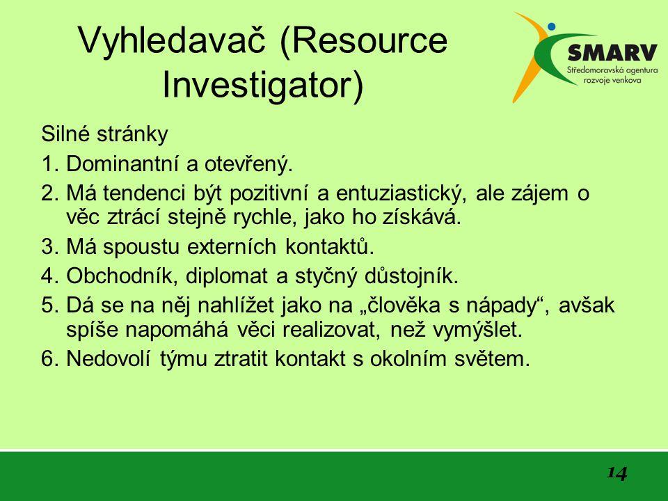 14 Vyhledavač (Resource Investigator) Silné stránky 1.