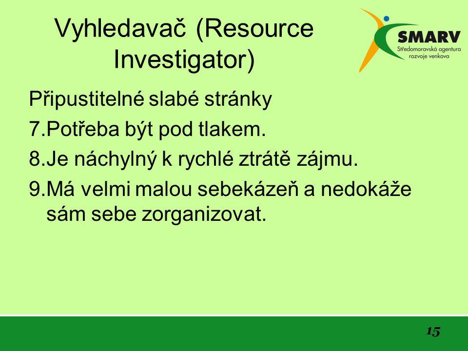 15 Vyhledavač (Resource Investigator) Připustitelné slabé stránky 7.Potřeba být pod tlakem.