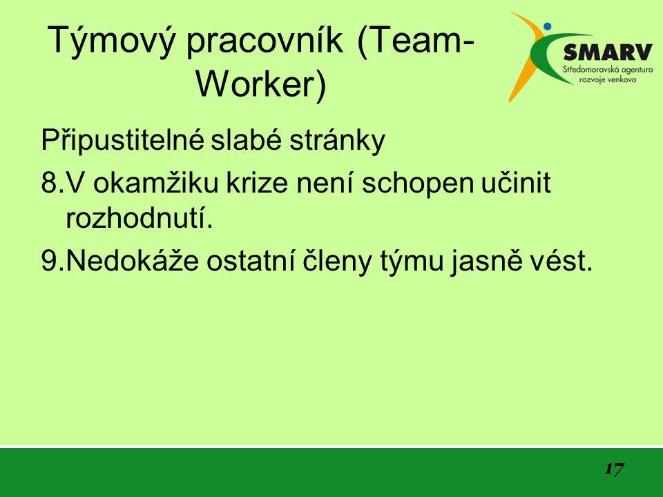 17 Týmový pracovník (Team- Worker) Připustitelné slabé stránky 8.V okamžiku krize není schopen učinit rozhodnutí.