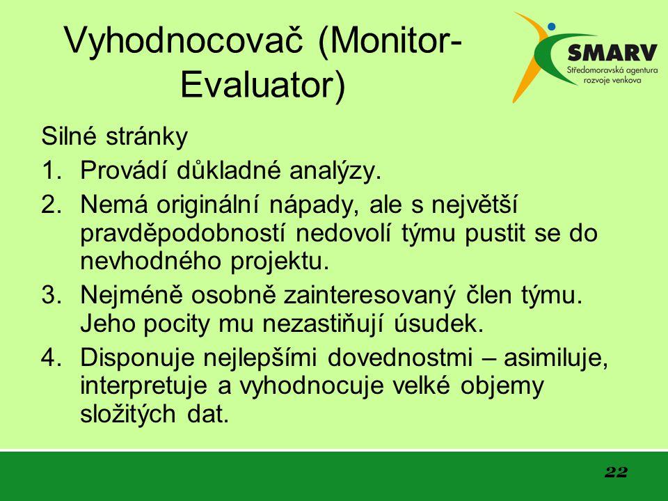 22 Vyhodnocovač (Monitor- Evaluator) Silné stránky 1.