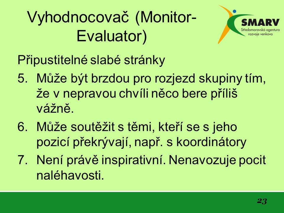 23 Vyhodnocovač (Monitor- Evaluator) Připustitelné slabé stránky 5.Může být brzdou pro rozjezd skupiny tím, že v nepravou chvíli něco bere příliš vážně.