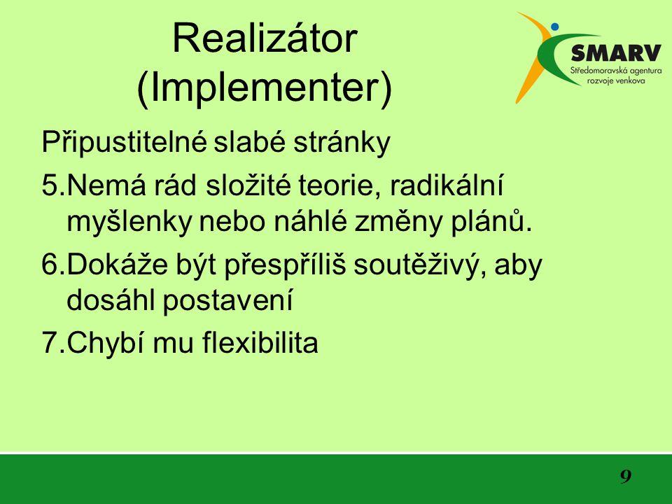 10 Koordinátor (Coordinator) Silné stránky 1.Upřesňuje cíle skupiny a stanoví program.