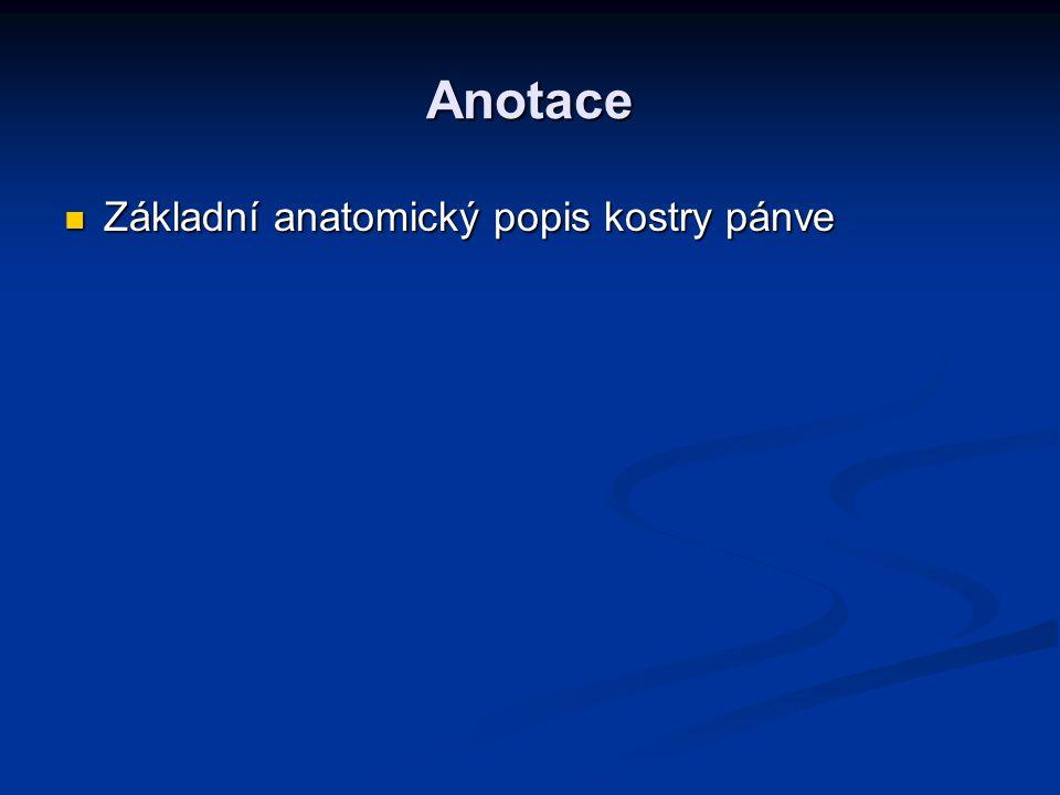 Anotace Základní anatomický popis kostry pánve Základní anatomický popis kostry pánve