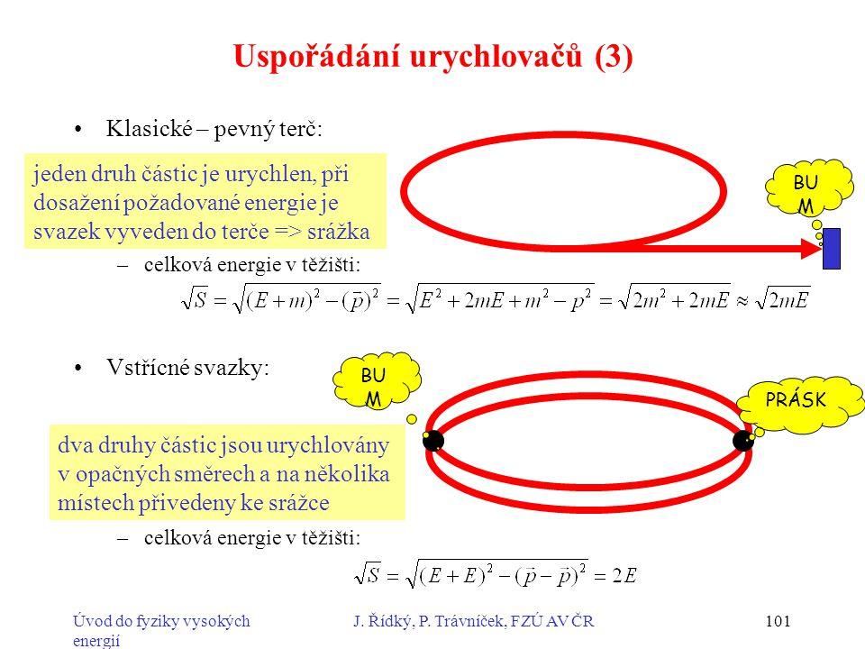 Úvod do fyziky vysokých energií J. Řídký, P. Trávníček, FZÚ AV ČR101 Uspořádání urychlovačů (3) Klasické – pevný terč: –celková energie v těžišti: Vst